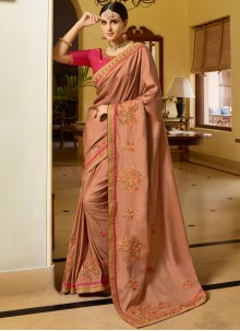 Designer Traditional Saree Embroidered Art Silk in Peach