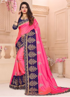 Designer Traditional Saree Embroidered Art Silk in Pink