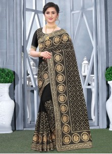 Designer Traditional Saree Embroidered Fancy Fabric in Black