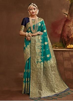Designer Traditional Saree Fancy Banarasi Silk in Rama