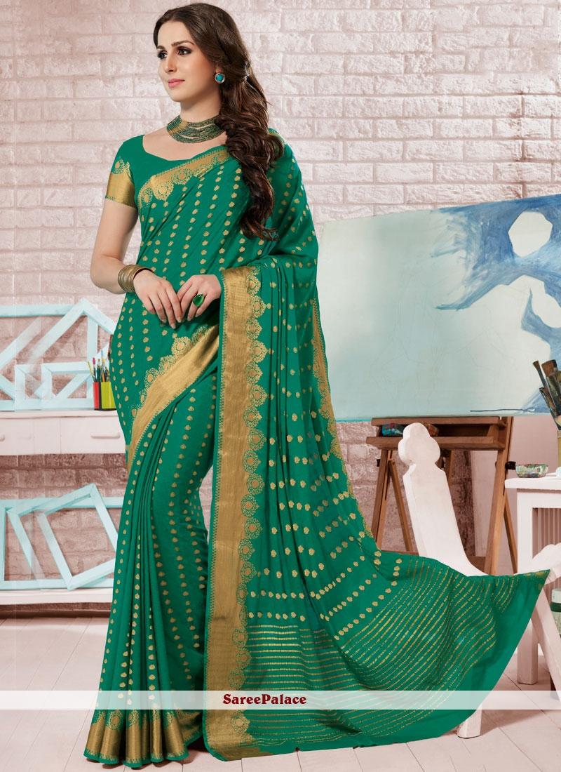 Designer Traditional Saree Fancy Crepe Silk in Green