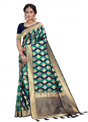 Designer Traditional Saree Fancy Silk in Blue and Sea Green