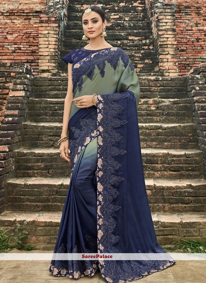 Navy Blue Designer Traditional Saree For Bridal