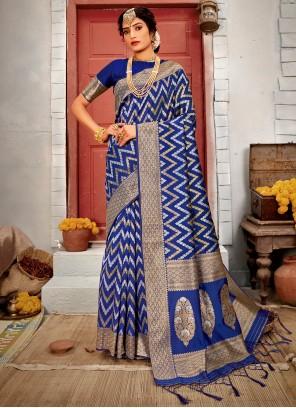 Designer Blue Traditional Saree For Ceremonial