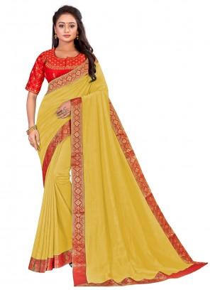 Designer Yellow Traditional Saree For Ceremonial