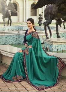Rama Chanderi Designer Traditional Saree For Ceremonial