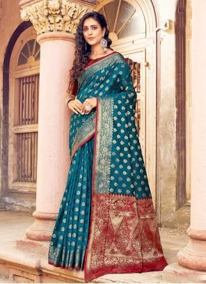 Blue Designer Traditional Saree For Ceremonial