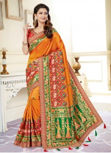 Orange Designer Traditional Saree For Engagement