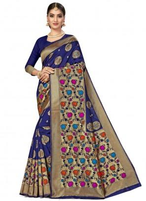 Blue Designer Traditional Saree For Engagement