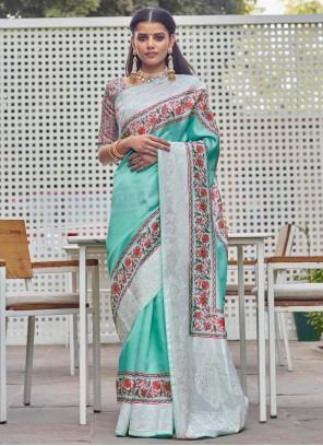 Designer Traditional Aqua Blue Saree For Festival