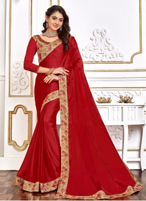 Red Designer Traditional Saree For Festival