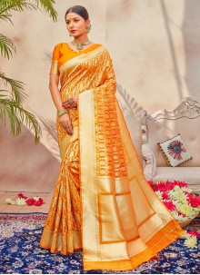 Yellow Designer Traditional Saree For Festival