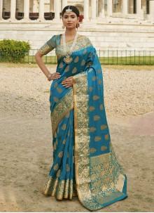 Blue Designer Traditional Saree For Festival