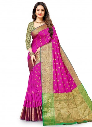 Pink Weaving Zari Work Traditional Saree For Festival