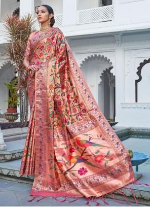 Pink Designer Traditional Saree For Festival