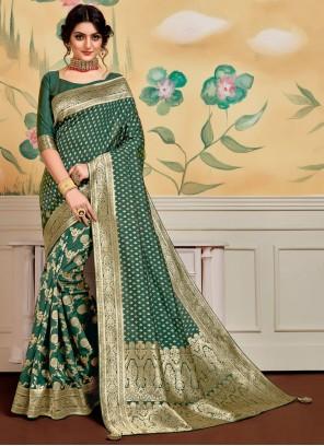 Green Designer Traditional Saree For Festival