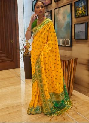Yellow Art Silk Designer Traditional Saree For Festival