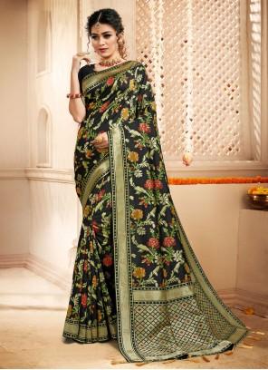Black Weaving Zari Designer Traditional Saree For Mehndi
