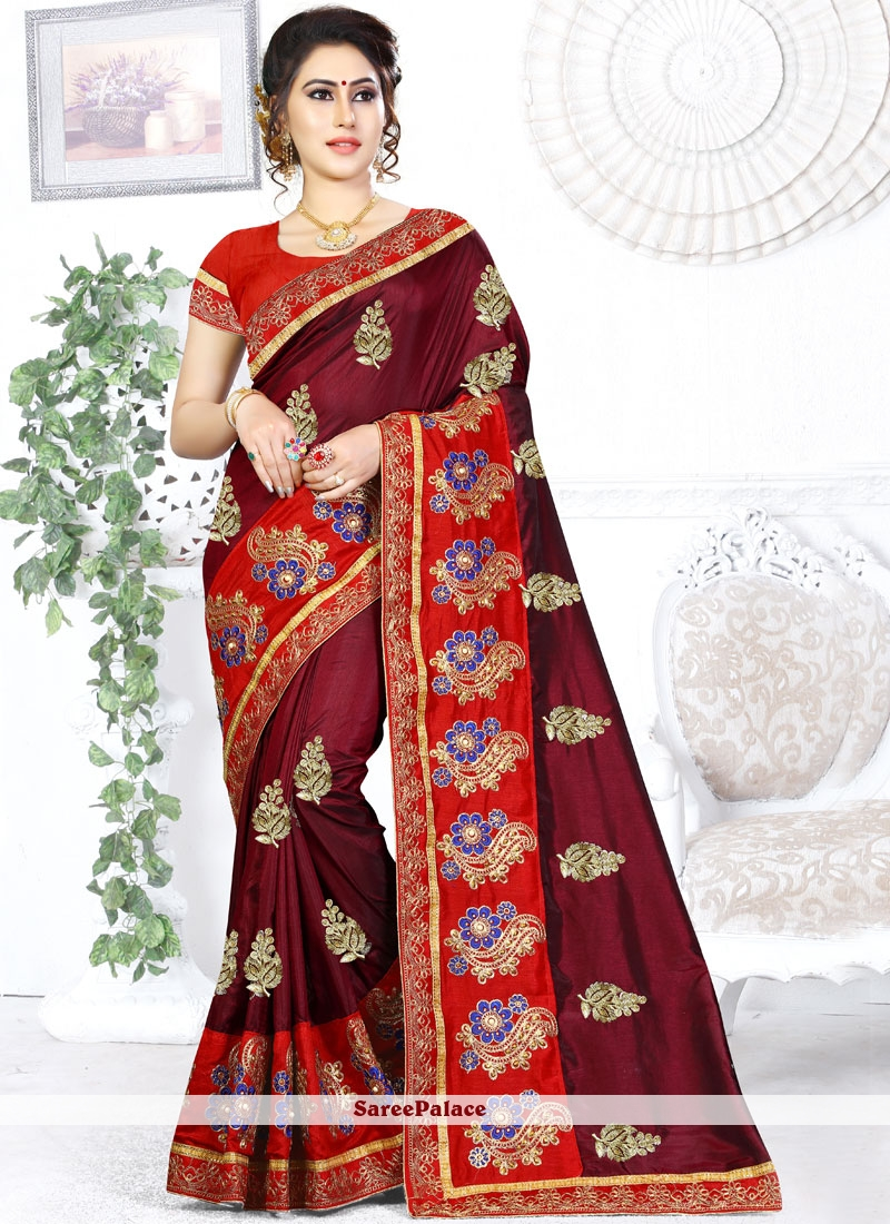 Maroon Designer Traditional Saree For Party