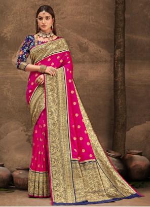 Hot Pink Banarasi Silk Designer Traditional Saree For Party