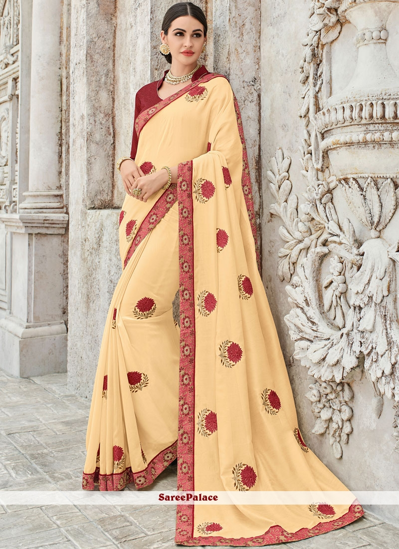 Cream Designer Traditional Saree For Party