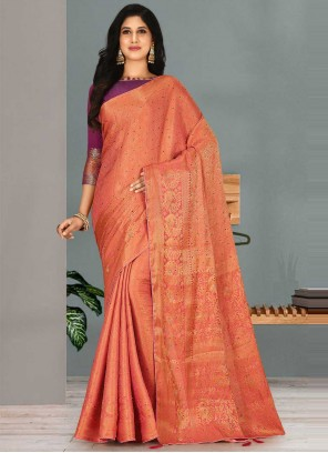 Designer Traditional Saree Handwork Kanjivaram Silk in Peach