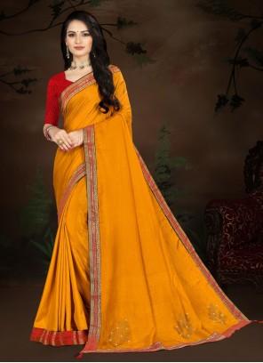 Designer Traditional Saree Lace Vichitra Silk in Yellow