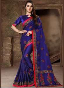 Designer Traditional Saree Patch Border Art Silk in Blue