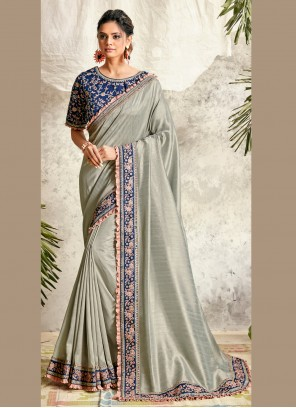 Designer Traditional Saree Patch Border Silk in Grey