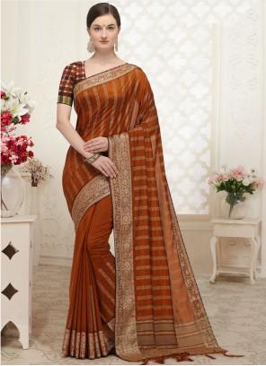 Designer Traditional Saree Patch Border Silk in Orange