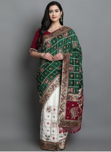 Designer Traditional Saree Patola Print Silk in Green and Off White