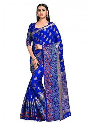 Designer Traditional Saree Printed Art Silk in Blue