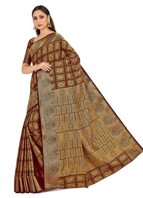 Designer Traditional Saree Printed Art Silk in Brown