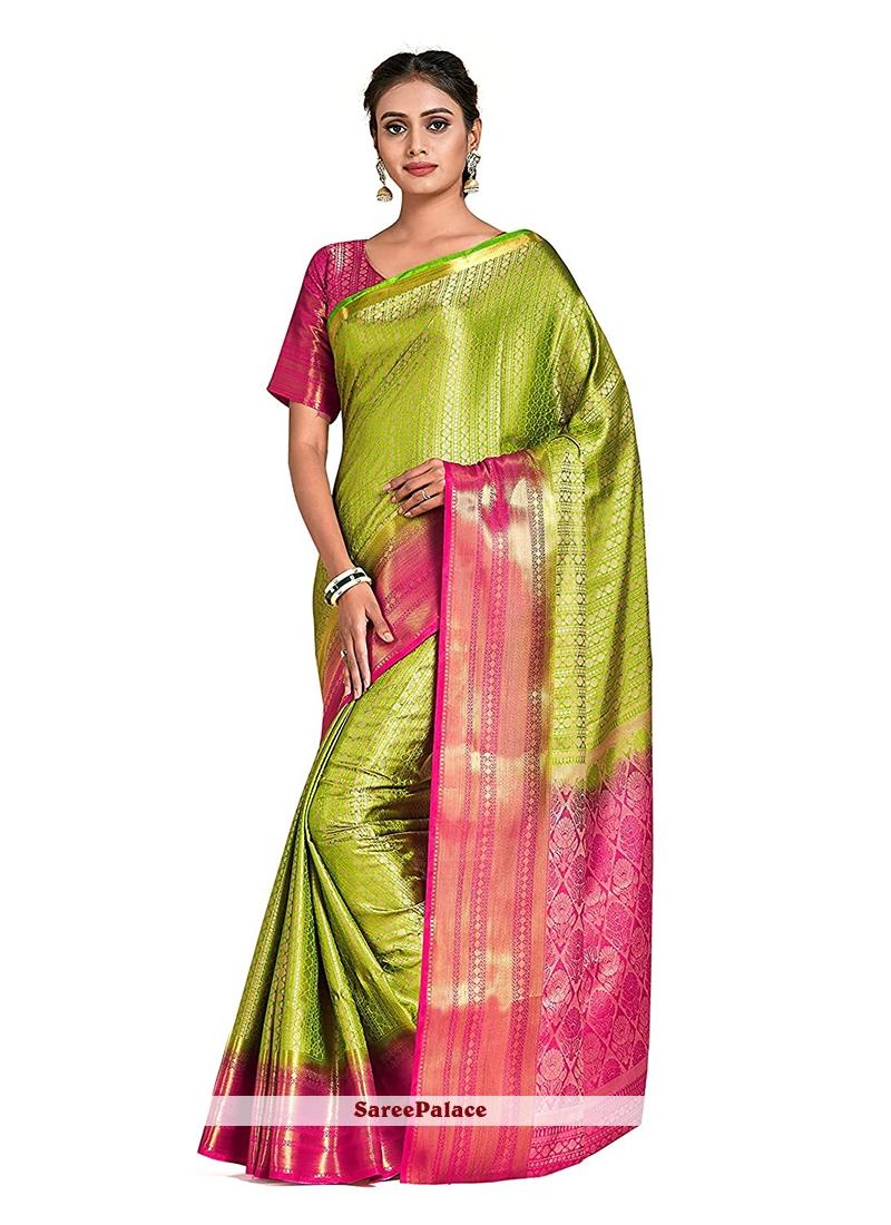 Designer Traditional Saree Printed Art Silk in Green