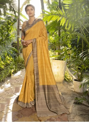 Designer Traditional Saree Printed Silk in Yellow