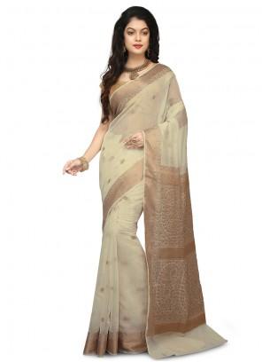 Designer Traditional Saree Weaving Art Banarasi Silk in Beige