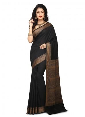 Designer Traditional Saree Weaving Art Banarasi Silk in Black