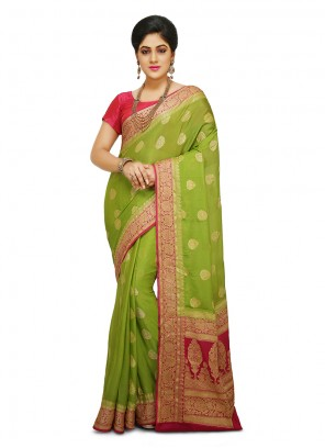 Designer Traditional Saree Weaving Art Banarasi Silk in Mustard