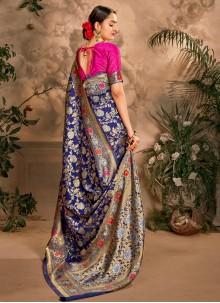 Designer Traditional Saree Weaving Art Silk in Blue
