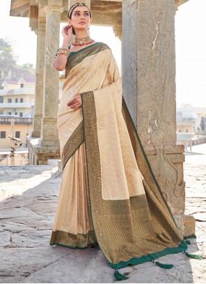 Designer Traditional Saree Weaving Art Silk in Cream