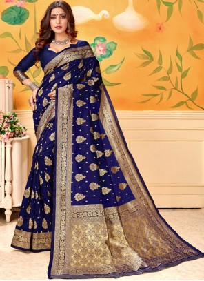 Designer Traditional Saree Weaving Art Silk in Navy Blue