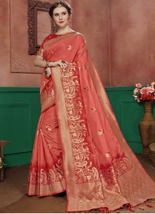 Designer Traditional Saree Weaving Art Silk in Pink and Red