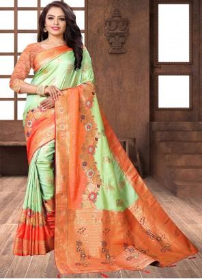 Designer Traditional Saree Weaving Banarasi Silk in Green and Orange