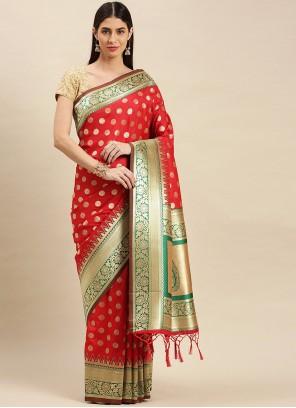 Designer Traditional Saree Weaving Banarasi Silk in Red