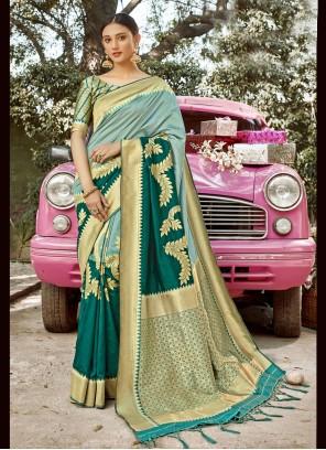 Designer Traditional Saree Weaving Banarasi Silk in Sea Green