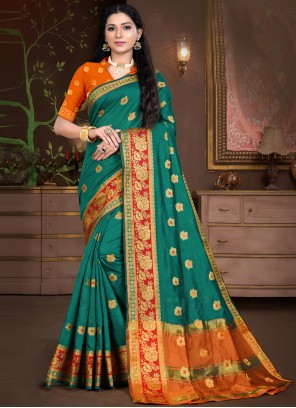 Designer Traditional Saree Weaving Cotton Silk in Sea Green