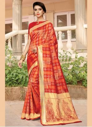 Designer Traditional Saree Weaving Jacquard Silk in Orange
