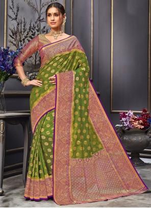 Designer Traditional Saree Weaving Tussar Silk in Green