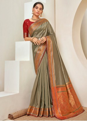Designer Traditional Saree Woven Art Silk in Grey