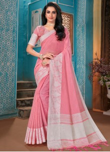Designer Traditional Saree Woven Cotton in Pink